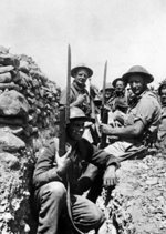 A group of British soldiers in a trench with fixed bayonets, Crete, Greece, late May 1941