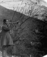 Greek Army bugler near Kleisoura, northern Greece, 6 Jan 1941