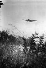 A Ju 52 aircraft flying low over Crete, Greece, 20 May 1941