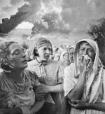 Women fleeing from German bombing in Grushki district, Kiev, Ukraine, 23 Jun 1941