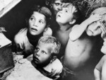 Byelorussian children in a bomb shelter, Minsk, Byelorussia, 24 Jun 1941