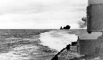 Bismarck firing on Hood and Prince of Wales, Battle of Denmark Strait, 24 May 1941, photo 8 of 8; photographed from Prinz Eugen