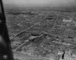 Aerial view of devastated Asakusa, Tokyo, Japan, 28 Sep 1945; note Senso-ji temple