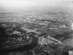 Aerial view of the Imperial Palace and neighborhoods to its east, Tokyo, Japan, 28 Sep 1945