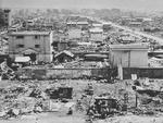 Hachioji, Japan after American aerial bombing, 1945, photo 1 of 2