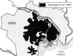 Map depicting the results of an US government survey of bombing damage of Tokyo, Japan, 1946
