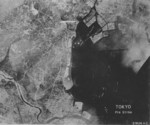 Aerial view of Tokyo, Japan and Tokyo Harbor, early 1945