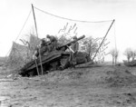 M36 Jackson tank destroyer of Battery C, 702nd Tank Destroyer Battalion, US 2nd Armored Division dug in near the Roer River, Belgium, 16 Dec 1944