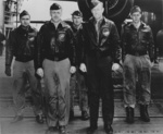 One of the Doolittle Raid B-25 bomber crews aboard USS Hornet shortly before the mission, Apr 1942