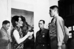 Song Meiling awarding Brigadier General James Doolittle (note Order of the Cloud and Banner 3rd Class), Colonel John Hilger (note Order of the Cloud and Banner 6th Class), and Captain Henry Potter for Doolittle Raid success, Chongqing, China, 29 Jun 1942