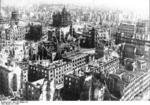 Ruins of Dresden, Germany, circa 15 Feb 1945; note Frauenkirche church in center