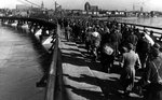 German prisoners of war marched across a bridge, Königsberg, Apr 1945