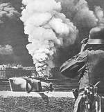 Rouen in flames during the German invasion, May 1940