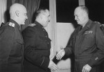 After Germany's surrender papers were signed at Reims, France 7 May 1945, Soviet General Ivan Susloparov and his aide met with Supreme Allied Commander Dwight Eisenhower.