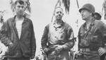 Major General Julian Smith, Colonel Meritt Edson, and Brigadier General Thomas Bourke, Betio, Tarawa Atoll, 22 Nov 1943