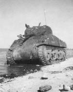 American tank disabled at Betio beach, Tarawa Atoll, Gilbert Islands, 22 Nov 1943