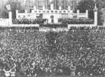 Crowds gather at a public event during the Greater East Asia Conference, Tokyo, Japan, 5 Nov 1943