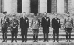 Attendees of the Greater East Asia Conference, Tokyo, Japan, 5 Nov 1943, photo 2 of 4; left to right: Ba Maw, Zhang Jinghui, Wang Jingwei, Hideki Tojo, Wan Waithayakon, José Laurel, Subhas Chandra Bose