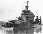 USS Minneapolis in Tulagi, Solomon Islands, under repair for torpedo damage received during Battle of Tassafaronga, 1 Dec 1942; note her bow being cut away