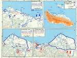 Map depicting the Guadalcanal Campaign, 7-8 Aug, 12-14 Sep, and 23-26 Oct 1942