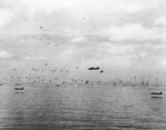 Japanese G4M aircraft making a torpedo run against the American Guadalcanal-Tulagi invasion force, 8 Aug 1942