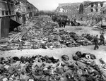 Rows of dead prisoners at Mittelbau-Dora Concentraiton Camp, Nordhausen, Germany, 17 Apr 1945