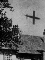 V-1 rocket flew across England, circa 1944