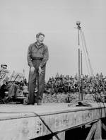 Entertainer Danny Kaye performed for 4,000 US 5th Marine Div. occupation troops at Sasebo, Japan, 25 Oct 1945