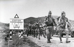 Japanese troops marching in Hong Kong, mid-Dec 1941