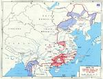 Map noting final Japanese lines in China and Burma between Operation Ichigo of mid-1944 and the end of the Pacific War