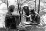 Two British officers and a Sikh radioman near Imphal, India, Mar-Jul 1944
