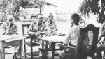 General Edward King negotiating surrender with Japanese officers, Bataan, Philippine Islands, 9 Apr 1942