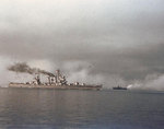 Light cruiser Philadelphia and a motor minesweeper making a smoke screen to cover the landing area from German air attack, Salerno, Italy, 9 Sep 1943