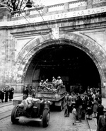 African-American soldiers of the US Army 92nd Infantry Division entering the Galleria Giuseppe Garibaldi, Genoa, Italy, 27 Apr 1945