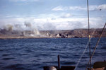 Explosions near the Iwo Jima shore, probably during the pre-landing bombardment, circa 19 Feb 1945