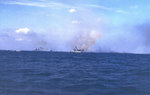 Battleship Tennessee and other American ships firing on Iwo Jima, 19 Feb 1945