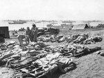 Dead Marines of the US 3rd Marine Division, covered by ponchos, Iwo Jima, Japan, Feb-Mar 1945