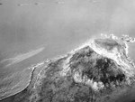 Aerial view of Mount Suribachi, 19 Feb 1945