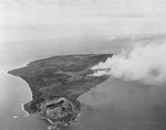 Iwo Jima during the pre-invasion bombardment, 17 Feb 1945, looking north with Mount Suribachi in the foreground