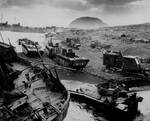 Destroyed American amtracs and other vehicles on beach of Iwo Jima, Japan, Feb-Mar 1945
