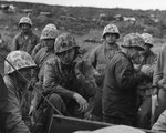 Officers of the US Fifth Marine Division directed the operations from a sandbagged position, Iwo Jima, 21 Feb 1945
