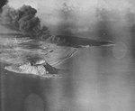 Airfield Number Two burning after American air raid, Iwo Jima, early 1945