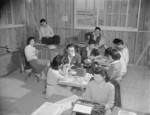 Newspaper staff at work, Jerome War Relocation Center, Arkansas, United States, 16 Nov 1942