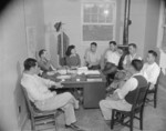 Project Director Paul Taylor speaking with the Council Committee of Jerome War Relocation Center, Arkansas, United States, 18 Nov 1942, photo 1 of 2