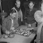 Japanese-American internees playing Go at the internment camp in Heart Mountain, Wyoming, United States, 1943