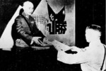 He Yingqin presenting the signed instrument of surrender to Chiang Kaishek, Nanjing, China, 9 Sep 1945