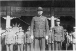 General Sun Lianzhong and other officers at the closing of the Japanese surrender ceremony at the Forbidden City, Beiping, China, 10 Oct 1945, photo 1 of 3