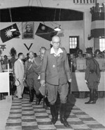 Yasuji Okamura departing from the site of the Japanese surrender ceremony, Nanjing, China, 9 Sep 1945
