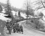 Captured German officers and men marching under loose American supervision, Austria, 1945