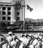 US flag being raised during the surrender ceremony at the General Government Building, Seoul, Korea, 9 Sep 1945